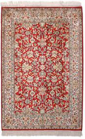 Kashmir Puur Zijde Vloerkleed 66X99 Echt Oosters Handgeknoopt Lichtgrijs/Donkerrood (Zijde, India)