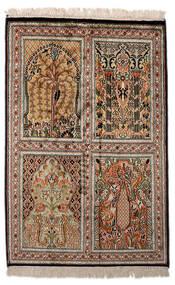 Kashmir Puur Zijde Vloerkleed 62X93 Echt Oosters Handgeknoopt Donkerbruin/Lichtgrijs (Zijde, India)