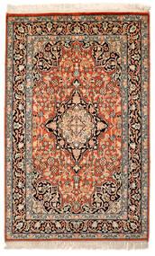 Kashmir Puur Zijde Vloerkleed 63X100 Echt Oosters Handgeknoopt Beige/Donkerbruin/Donkerrood (Zijde, India)