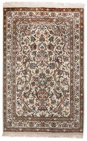 Kashmir Puur Zijde Vloerkleed 62X97 Echt Oosters Handgeknoopt Lichtgrijs/Bruin (Zijde, India)