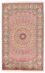 Kashmir Puur Zijde Vloerkleed 94X150 Echt Oosters Handgeknoopt Beige/Lichtgrijs (Zijde, India)