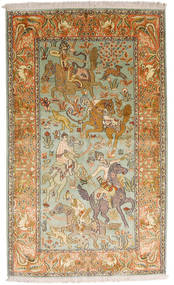 Kashmir Puur Zijde Vloerkleed 93X155 Echt Oosters Handgeknoopt Donkerbeige/Bruin (Zijde, India)