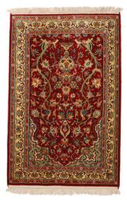 Kashmir Puur Zijde Vloerkleed 62X95 Echt Oosters Handgeknoopt Donkerrood/Donkerbruin (Zijde, India)