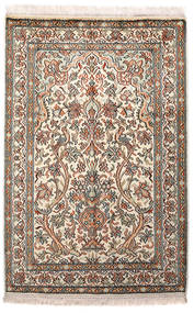 Kashmir Puur Zijde Vloerkleed 64X96 Echt Oosters Handgeknoopt Lichtgrijs/Beige (Zijde, India)
