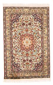 Kashmir Puur Zijde Vloerkleed 58X90 Echt Oosters Handgeknoopt Beige/Donkerbruin (Zijde, India)
