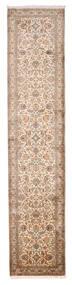 Kashmir Puur Zijde Vloerkleed 79X373 Echt Oosters Handgeknoopt Tapijtloper Bruin/Wit/Creme (Zijde, India)