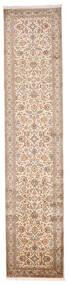 Kashmir Puur Zijde Vloerkleed 81X372 Echt Oosters Handgeknoopt Tapijtloper Beige/Bruin (Zijde, India)