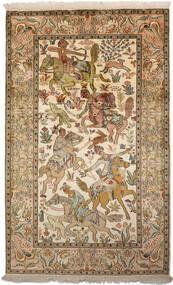Kashmir Puur Zijde Vloerkleed 94X152 Echt Oosters Handgeknoopt Bruin/Donkerbeige (Zijde, India)