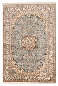 Kashmir Puur Zijde Vloerkleed 127X188 Echt Oosters Handgeknoopt Beige/Donkerbruin (Zijde, India)