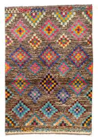Moroccan Berber - Afghanistan Vloerkleed 89X130 Echt Modern Handgeknoopt Lichtbruin/Donkerbruin (Wol, Afghanistan)