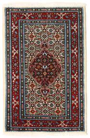 Moud Vloerkleed 59X89 Echt Oosters Handgeknoopt Donkerbruin/Donkerrood (Wol/Zijde, Perzië/Iran)