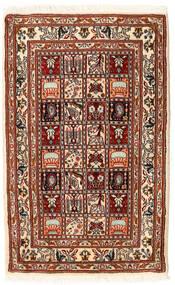 Moud Vloerkleed 62X98 Echt Oosters Handgeknoopt Donkerrood/Beige (Wol/Zijde, Perzië/Iran)