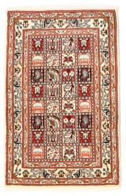 Moud Vloerkleed 60X95 Echt Oosters Handgeknoopt Donkerbruin/Beige (Wol/Zijde, Perzië/Iran)