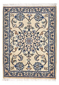 Nain Vloerkleed 62X83 Echt Oosters Handgeknoopt Beige/Donkergrijs/Wit/Creme (Wol, Perzië/Iran)