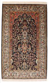 Kashmir Puur Zijde Vloerkleed 82X132 Echt Oosters Handgeknoopt Zwart/Donkerbruin (Zijde, India)