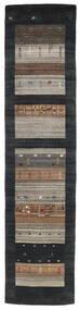 Loribaf Loom Vloerkleed 79X340 Echt Modern Handgeknoopt Tapijtloper Zwart/Lichtgrijs (Wol, India)