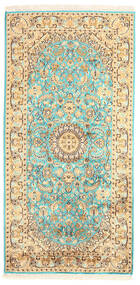 Kashmir Puur Zijde Vloerkleed 77X157 Echt Oosters Handgeknoopt Bruin/Geel (Zijde, India)