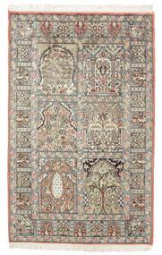 Kashmir Puur Zijde Vloerkleed 77X127 Echt Oosters Handgeknoopt Donkerbruin/Beige (Zijde, India)