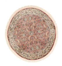 Kashmir Puur Zijde Vloerkleed Ø 129 Echt Oosters Handgeknoopt Rond Wit/Creme/Donkerbruin (Zijde, India)