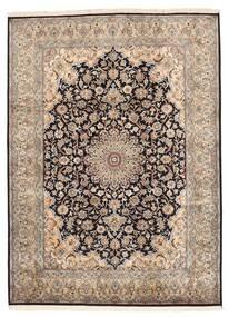 Kashmir Puur Zijde Vloerkleed 160X219 Echt Oosters Handgeknoopt Lichtgrijs/Donkerbruin/Bruin (Zijde, India)