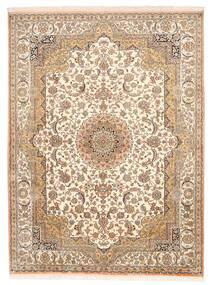 Kashmir Puur Zijde Vloerkleed 157X211 Echt Oosters Handgeknoopt Bruin/Beige (Zijde, India)