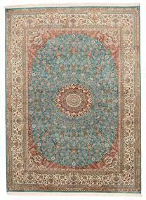 Kashmir Puur Zijde Vloerkleed 159X218 Echt Oosters Handgeknoopt Bruin/Donkergrijs (Zijde, India)