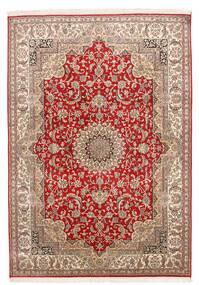 Kashmir Puur Zijde Vloerkleed 152X219 Echt Oosters Handgeknoopt Donkerrood/Donkerbruin (Zijde, India)