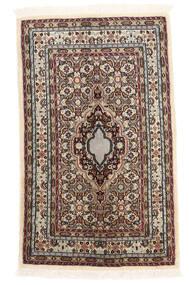 Moud Vloerkleed 61X100 Echt Oosters Handgeknoopt Beige/Donkerbruin (Wol/Zijde, Perzië/Iran)