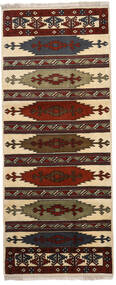 Turkaman Vloerkleed 87X210 Echt Oosters Handgeknoopt Tapijtloper Donkerbruin/Lichtbruin (Wol, Perzië/Iran)