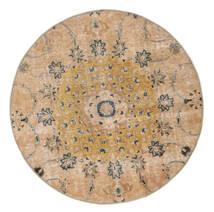 Vintage Heritage Vloerkleed Ø 150 Echt Modern Handgeknoopt Rond Donkerbeige/Lichtbruin (Wol, Perzië/Iran)