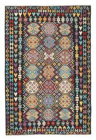 Kelim Afghan Old Style Vloerkleed 202X301 Echt Oosters Handgeweven Zwart/Lichtgrijs (Wol, Afghanistan)