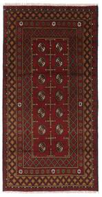 Afghan Vloerkleed 98X193 Echt Oosters Handgeknoopt Donkerrood/Donkerbruin (Wol, Afghanistan)