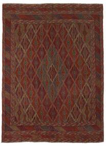 Kelim Golbarjasta Vloerkleed 210X280 Echt Oosters Handgeweven Zwart/Donkerbruin (Wol, Afghanistan)