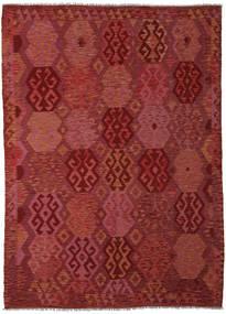 Kelim Afghan Old Style Vloerkleed 210X289 Echt Oosters Handgeweven Donkerrood (Wol, Afghanistan)