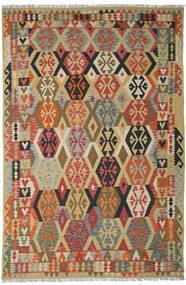 Kelim Afghan Old Style Vloerkleed 205X311 Echt Oosters Handgeweven Donkerrood/Donkerbeige (Wol, Afghanistan)