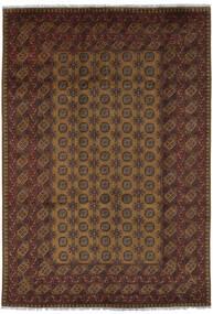 Afghan Vloerkleed 200X292 Echt Oosters Handgeknoopt Zwart/Donkerbruin (Wol, Afghanistan)
