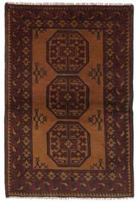 Afghan Vloerkleed 93X145 Echt Oosters Handgeknoopt Zwart/Donkerbruin (Wol, Afghanistan)