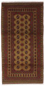 Afghan Vloerkleed 99X186 Echt Oosters Handgeknoopt Zwart/Donkerbruin (Wol, Afghanistan)