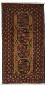 Afghan Vloerkleed 103X193 Echt Oosters Handgeknoopt Zwart/Donkerbruin (Wol, Afghanistan)