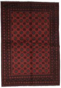 Afghan Vloerkleed 165X233 Echt Oosters Handgeknoopt Zwart/Donkerrood (Wol, Afghanistan)