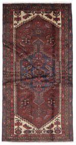 Hamadan Vloerkleed 105X207 Echt Oosters Handgeknoopt Zwart/Donkerbruin (Wol, Perzië/Iran)