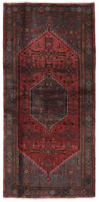 Hamadan Vloerkleed 102X212 Echt Oosters Handgeknoopt Zwart/Donkerbruin (Wol, Perzië/Iran)