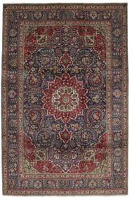 Tabriz Vloerkleed 210X310 Echt Oosters Handgeknoopt Zwart/Donkerbruin (Wol, Perzië/Iran)