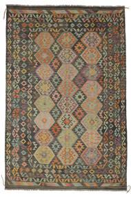 Kelim Afghan Old Style Vloerkleed 203X300 Echt Oosters Handgeweven Donkergroen/Zwart/Donkerbruin (Wol, Afghanistan)