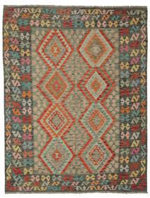 Kelim Afghan Old Style Vloerkleed 180X231 Echt Oosters Handgeweven Donkergroen/Donkerbruin (Wol, Afghanistan)